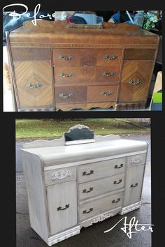 Refinished by our very talented artist on staff aka creator/owner of New Old Finds. Love this transformation!! For sale at www.facebook.com/treasuredthriftique.