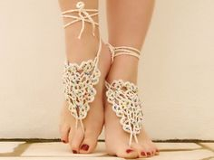Beaded Crocheted Barefoot Sandals