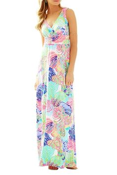 Printed jersey dress with v-neck and empire waistline.       Sloane Maxi Dress by Lilly Pulitzer. Clothing - Dresses - Maxi Clothing - Dresses - Printed Clothing - Dresses - Casual Sandestin Golf and Beach Resort, Florida