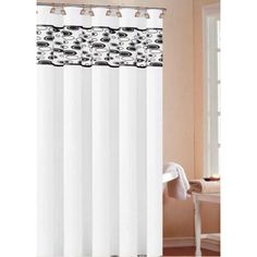 DR International Sonia Shower Curtain Color: White-Black - SOSWB 12 8575