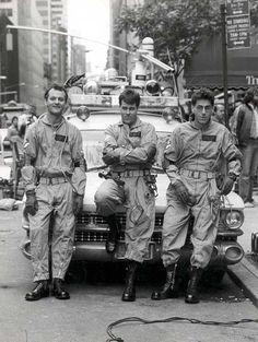 https://twitter.com/historyepicsBill Murray, Dan Aykroyd and Harold Ramis on the set of Ghostbusters, 1983.