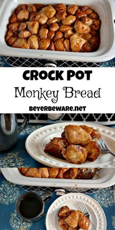 simple ingredients combined in a casserole crock pot and you are two hours away from this gooey crock pot monkey bread.Five simple ingredients combined in a casserole crock pot and you are two hours away from this gooey crock pot monkey bread. Crock Pot Brot, Crock Pot Slow Cooker, Crock Pot Cooking, Slow Cooker Recipes, Cooking Recipes, Dog Recipes, Beef Recipes, Crock Pots, Recipes With Biscuits