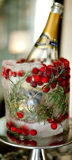 Create your own festive Christmas ice bucket for chilling wine, champagne and more! Add cranberries and rosemary to create a festive winter display.