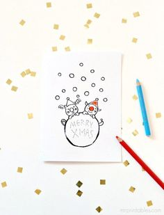 Printable Christmas Cards to Color in - Mr Printables