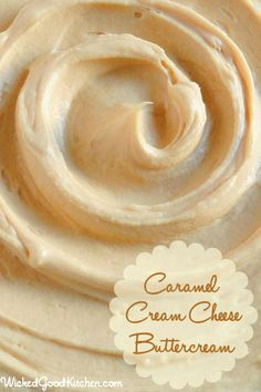 Caramel Cream Cheese Buttercream Recipe with unsalted butter, cream cheese, caramels, pure vanilla extract, confectioners sugar (whipped cream cheese buttercream) Cream Cheese Buttercream, Caramel Buttercream, Buttercream Recipe, Frosting Recipes, Cupcake Recipes, Baking Recipes, Dessert Recipes, Fluffy Frosting, Just Desserts