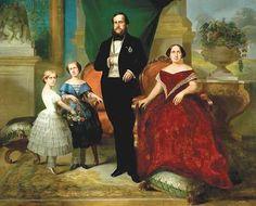 D. Pedrto II na historia do Brasil - Pesquisa Google - O imperador D. Pedro II, sua esposa Teresa Cristina e suas filhas, princesas Isabel e Leopoldina, 1857.