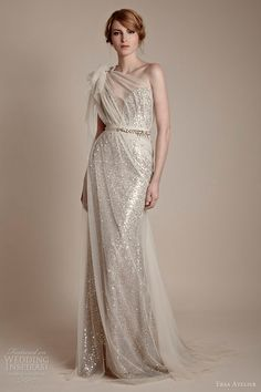 Fabulous! ersa atelier 2013 one shoulder tulle over sequin column gown