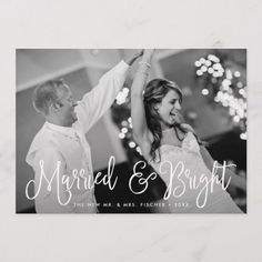 Shop Married & Bright Holiday Photo Card + Back Message created by RedwoodAndVine. Personalize it with photos & text or purchase as is! Christmas Wedding Invitations, Photo Wedding Invitations, Party Invitations, Christmas Photo Cards, Holiday Cards, Christmas Postcards, Back Message, Simple Elegant Wedding, Wedding Announcements