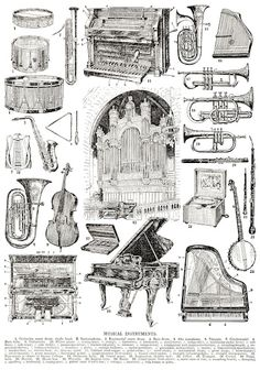 vintage musical instruments clipart