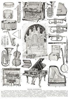 vintage musical instruments clipart