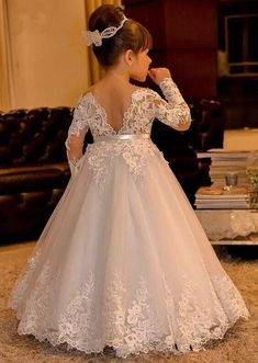 The dress for girl which match the flowers-white lace flower girl dresses long sleeves kids ball gowns long floor length appliques bow girls pageant dresses chi Princess Flower Girl Dresses, Lace Flower Girls, Little Girl Dresses, Wedding Flower Girl Dresses, Vintage Flower Girl Dresses, Flower Girl Gown, Cheap Flower Girl Dresses, Bridal Dresses, Kids Pageant Dresses