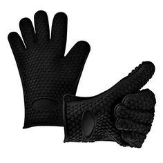 Fieans 1 Paar Erstaunliche Silikone Topflappen Ofenhandschuhe Grilling Gloves Kuehlschrank Handschuhe-Schwarz
