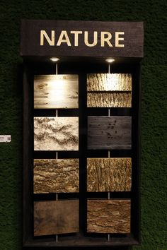 Nature-Inspired Materials for Interiors: Neo Ecology at Cologne IMM 2016 Wood Wall Design, Wall Tiles Design, Ceiling Design, Showroom Interior Design, Tile Showroom, Deco Nature, Nature Decor, Moss Decor, Moss Wall Art