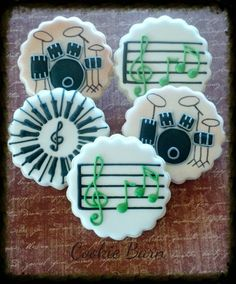 Music Drum Keyboard Custom Decorated Sugar Cookies by CookieBarn