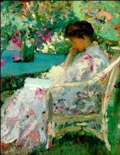 american impressionists | ... reading | Richard Edward Miller Oil Painting | American Impressionist