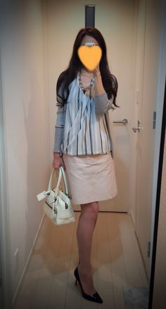 My fav pink beige skirt paired w/ H&M striped shirt.
