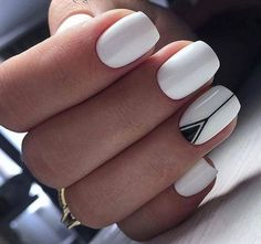 Classy White Nail Art You Should Try for more ideas. Nails 48 Classy White Nail Art You Should Try 2019 - Page 7 of 47 - Fashion Star Cute Nail Art Designs, White Nail Designs, White Nails With Design, Black And White Nail Art, Fingernail Designs, Black White, Nagellack Design, Nagellack Trends, Pretty Nail Art