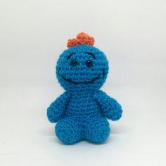 Mr Meeseeks Crochet Amigurumi Toy Smiling by KnotYourHooker