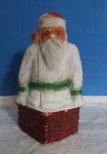 Antique/ Vintage Paper Mache/Egg Carton Santa Candy Holder w/Chimney