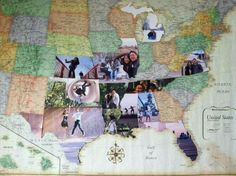 DYI photo map pictures. Display a pic of every state you have been on.