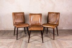 These vintage style leather chairs are a magnificent addition to our vast range of antique and reproduction furniture. This superb quality tan leather. Rustic Dining Chairs, Leather Dining Room Chairs, Leather Chairs, Table And Chairs, Dining Table, Kitchen Dining, Tables, Vintage Style, Vintage Fashion