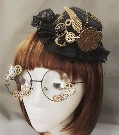 Online Shop Novelties Steampunk Victorian Gears Mini Top Hat Costume Hair Accessory Handmade With Steam Punk Gear Glasses Aliexpress Mobile Novelties Steampunk Victorian. Moda Steampunk, Viktorianischer Steampunk, Design Steampunk, Steampunk Wedding, Steampunk Makeup, Steampunk Necklace, Casual Steampunk, Steampunk Drawing, Steampunk Bedroom