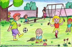 Drawing Playground Scene with with color pencils through our step by step tutorial with video. Basic Drawing For Kids, Scenery Drawing For Kids, Drawing Lessons For Kids, Art Drawings For Kids, Painting For Kids, Pencil Drawing Images, Mini Drawings, Space Drawings, Easy Nature Drawings