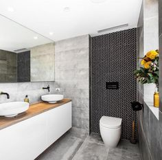 Block winners Dean and Shay share top bathroom design tips - The Interiors Addict The Block Bathroom, Laundry In Bathroom, Simple Bathroom, Modern Bathroom, Bathroom Basin, Bathroom Vanity Designs, Bathroom Trends, Bathroom Renovations, Bathroom Interior