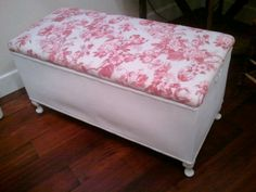 Repainted and reupholstered garage sale find
