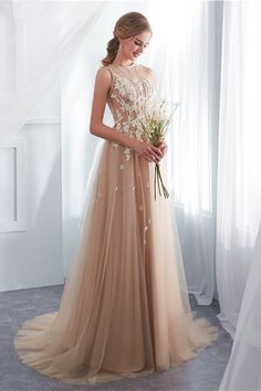 Champagne Wedding Dresses Lace Tulle Illusion Long Prom Dress With Train 7ccdd61a31e1