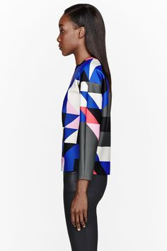 MSGM // BLUE NEOPRENE COLORBLOCKED SWEATSHIRT