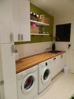 55 Inspiring Small Laundry Room Design Ideas - Home-dsgn Laundry Room Cabinets, Laundry Room Remodel, Basement Laundry, Laundry Room Storage, Laundry In Bathroom, Small Bathroom, Bathroom Pink, Modern Laundry Rooms, Laundry Room Inspiration