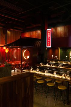 Inspired by the visually rich language of Chinatowns around the world, MRDK have brough to life a clear design story to the Miss Wong Restaurant in Quebec. Japanese Restaurant Interior, Architecture Restaurant, Chinese Interior, Asian Interior, Bar Interior, Japanese Interior, Restaurant Interior Design, Chinese Restaurant, Architecture Design