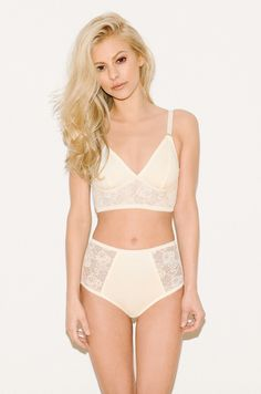 Mira LongLine and High Waist, Ivory, Fortnight Lingerie, #AW15