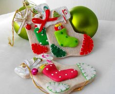 Felt Ornament Santa Stocking Ornaments Felt by cranberrydreams, $13.50