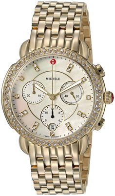 Michele Sidney Chronograph Diamond Gold-Tone Ladies Watch MWW30A000008 Tag Heuer Aquaracer Ladies, Discount Watches, Stainless Steel Watch, Quartz Watch, Chronograph, Diamond, Lady, Gold, Trends