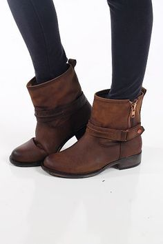 The Kerri Boot, Tan $49.00 These ankle boots are right on trend and they look super expensive! We love the zipper detailing and the small harness around the ankle:) These fit true to size. Kalan is a size 7 in boots, and that is what she wore in these. #AnkleBoots