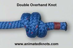 Animation: Double Overhand Stopper Knot Tying (Climbing) (For bottom of tree swing.)
