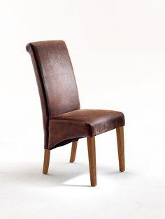 Esszimmerstuhl Gin Polsterstuhl 2 verschiedene Holztöne Material: Beine:      massiv cappuccino, massiv natur Bezug:     Lederoptik antik braun Maße: B/H/T ca....
