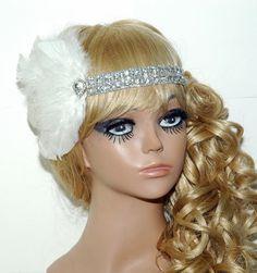 Bridal Headpiece Gatsby - Wedding Flapper Headpiece  - Bridal Feather Fascinator - Feather Rhinestone Headband - 1920s Hair Accessories