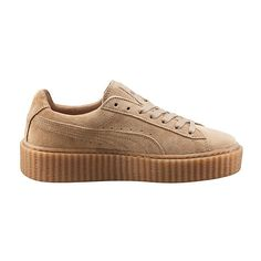 PUMA BY RIHANNA CREEPER ($120) ❤ liked on Polyvore featuring shoes, sneakers, puma, trainers, cat shoes, cat trainer, puma sneakers, suede shoes and lace up shoes