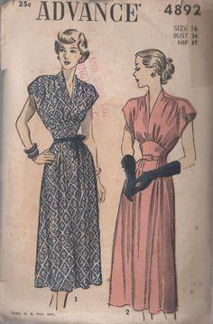 Vintage 40s Advance 4892 Swing Era Dress with by sandritocat