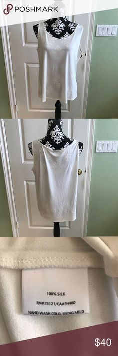 Eileen Fisher White Silk Tank Top In great pre loved condition no rips stains or tears. 100% silk Eileen Fisher Tops Tank Tops