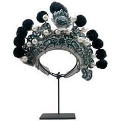 Antique Chinese Theatre Opera Headdress, Turquoise/Silver, Red/Fuchsia Pom-Poms For Sale at Pom Poms For Sale, Chinese Opera, China Girl, Fuchsia, Turquoise, Tiaras And Crowns, Metal Bracelets, Metallic Paint, Headdress