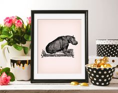 Hippo Hippopotamus 8x10 On the Pink Background & ClipArt Sofa Couch drawing Retro Printable Image DIGITAL INSTANT DOWNLOAD graphic HQ300dpi by ZikkiArt on Etsy
