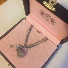 """Juicy Couture """"Key to My Heart"""" Necklace Silver double chain necklace with heart, key and crown charms. Makes a great gift! Juicy Couture Jewelry Necklaces"""