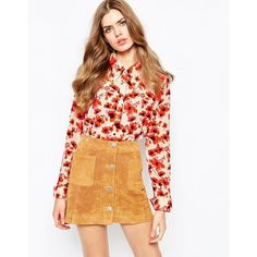 Sister Jane 70's Floral Print Shirt featuring polyvore, fashion, clothing, tops, multi, flower print shirt, floral shirt, polyester shirt, floral print shirt and floral top