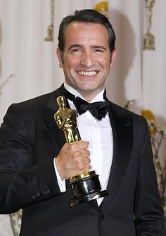 French Actor Jean Dujardin w/Oscar for Best Actor in 'The Artist.'  ~Great Smile!
