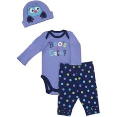 Gerber Newborn Girls' 3 Piece Owl Hat, Bodysuit and Pant Set