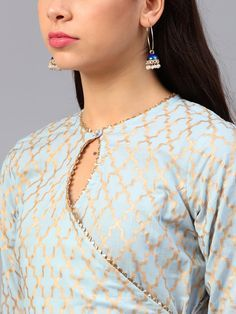 Buy Bhama Couture Women Blue & Golden Printed Kurta With Palazzos - Kurta Sets for Women 7341274 Neck Designs For Suits, Sleeves Designs For Dresses, Neckline Designs, Back Neck Designs, Blouse Neck Designs, Simple Kurta Designs, New Kurti Designs, Kurta Designs Women, Kurti Designs Party Wear